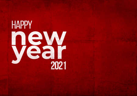 Happy New Year 2021 in white letters on a red grunge industrial background