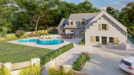 3D rendering of a classical house with pool, garden and garage Standard-Bild