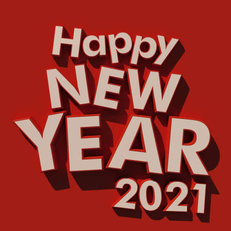 3D rendering of the writing Happy New Year 2021 in white on a red background