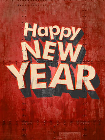 Happy New Year in white letters on a red grunge industrial background 3D rendering