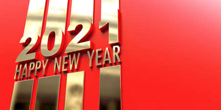 3D rendering of the writing Happy New Year 2021 in a mirror golden surface on a red background