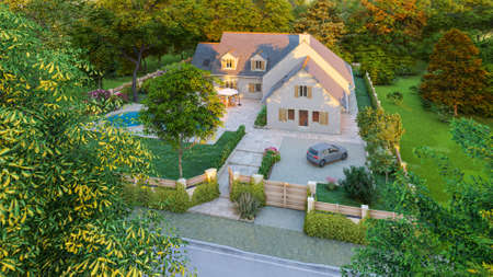 3D rendering of a classical pitched slate roof house with swimming pool and garden, aerial view