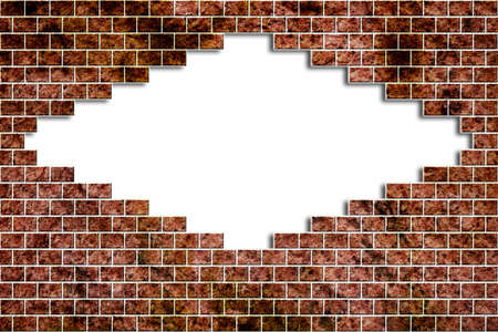 masonry: Hole in a old brick wall realistic broken on white background - grunge