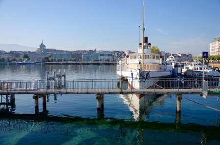 The harbor of Geneva, Belle Epoque steam boat with paddle wheels