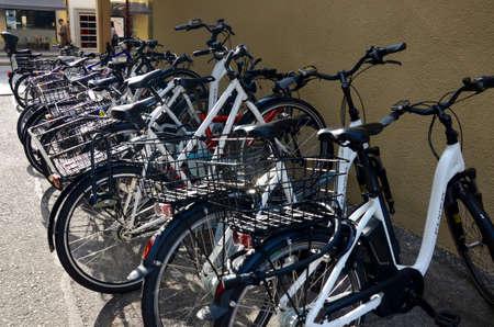 Bikes parked along a street in Geneva