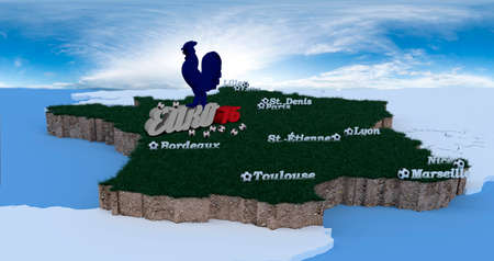 pecks: match points of Euro 2016 in 3D letters and footballs Horizon is in heaven sky, Gallic rooster pecks footballs