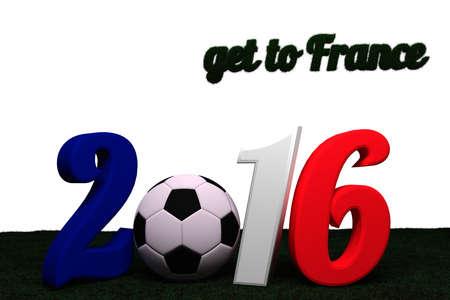 Euro 2016 in 3D-Buchstaben mit Fussball und Überschrift get to France