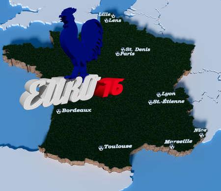 als: Draufsicht auf Frankreich-Kontur mit Namen der Spielst�tten der Euro 2016 und Fu�ball als Ort in Retroshrift Euro 16 mit gallischem Hahn