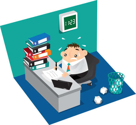 emotional stress: Busy Staff working at office Illustration