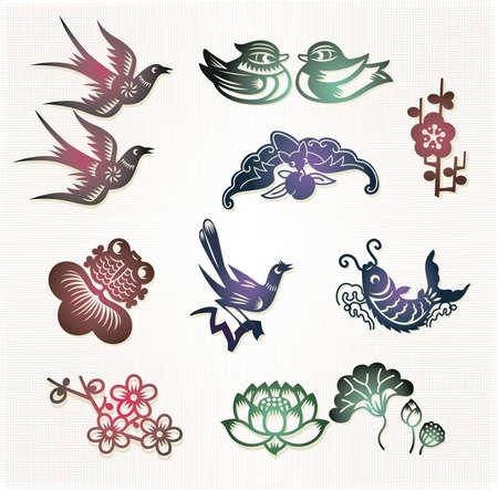 Traditionele Chinese gelukkige symbolen: Lovebirds, Mandarijn eenden (Trouwe liefde); Bat (Lucky); Pruim bloem (Geluk); Goldfish (Overvloedige); Ekster (Geluk); Karper (Bright prospect); Lotus (Harmony) Vector Illustratie