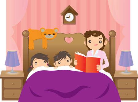 침대에서 그녀의 2 명의 아이들에게 이야기하고있는 어머니 일러스트