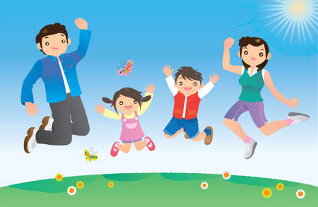 family fun day: Jumping family Illustration