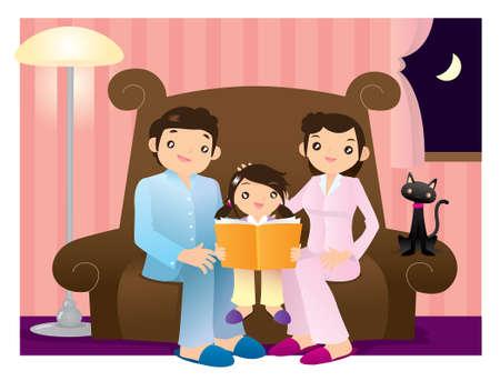 buonanotte: Bambina che legge un libro accompagnato dai suoi genitori ragazza