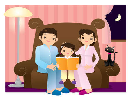 Little girl reading a book accompanied by her parents Vector