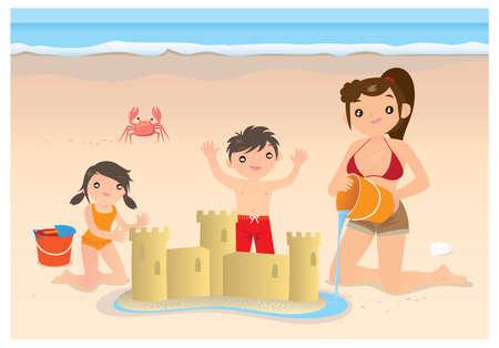 seau d eau: Une mère aidant ses deux enfants à construire un château de sable sur la plage