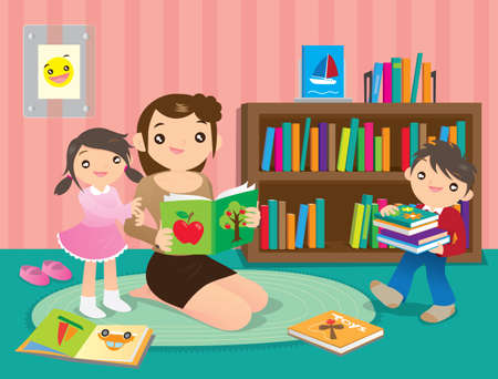 tell stories: Family fun in the library Illustration