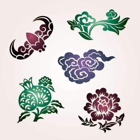 """Traditionele gelukkige symbolen: bat (geluk), wolken (voorspoed),  """"Ruyi """" (als je wilt), granaatappel (vele zonen), pioen (rijkdom)"""