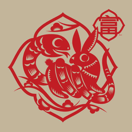A Paper-cut illustration from a Chinese proverb - Snake coils rabbit, must get rich, blessing people have a good fortune and wealthy life