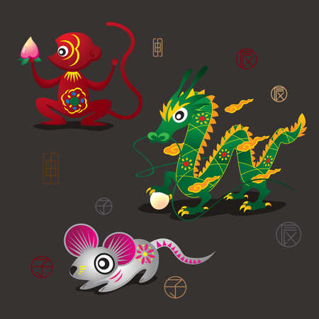 3 Chinese Zodiac Mascots: Monkey, Dragon and Rat