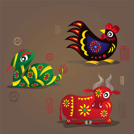 3 中国の干支マスコット: オンドリ、蛇と牛  イラスト・ベクター素材
