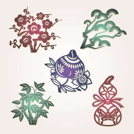 Chinese lucky symbols:peach longevity; gourd exorcise evil spirits; bamboo, plum flower, pine three friends of Winter: symbols of resilience, perseverance