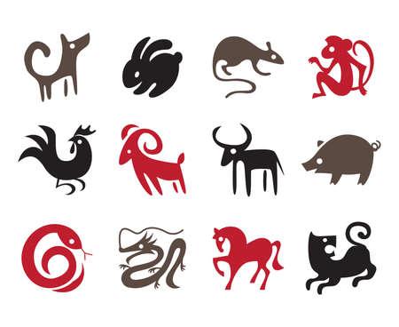gallo: Doce chinos plantillas zodiaco