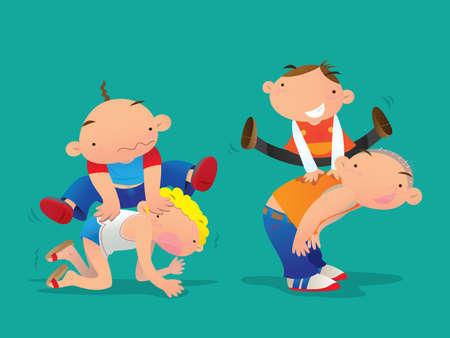 easy: Kids playing Leapfrog Illustration