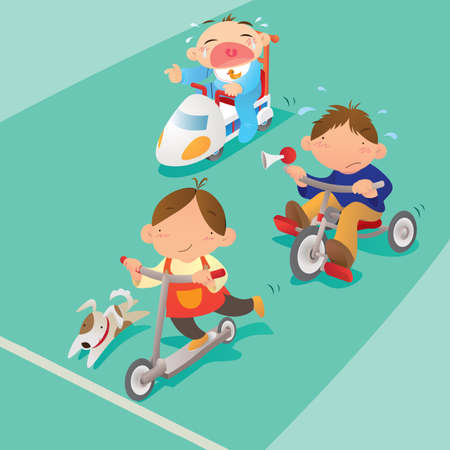 cartoon kid: Racing game among boys Illustration