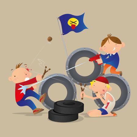 rival: boys playing war game