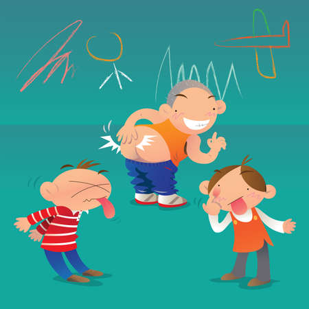 cartoon kid: Boys struggle Illustration