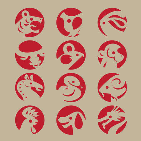 Graphic icons of twelve Chinese Zodiac