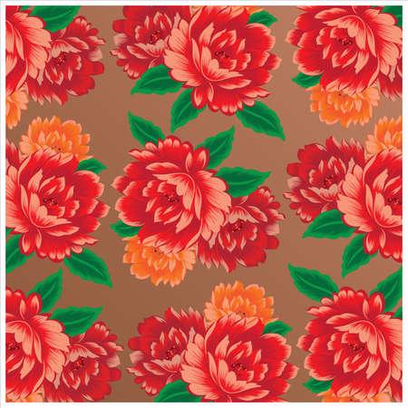 Chinese vintage peony fabric pattern Ilustração