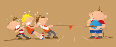kids playing rope pulling game Illustration