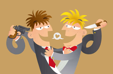 Cartoon illustration of concept of false friends. Two mens make a hug to pretend friends, meanwhile they point a weapon to others back Ilustração
