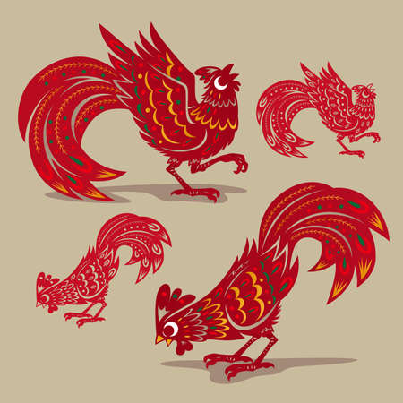 auspicious sign: Chinese rooster paper-cutting symbols