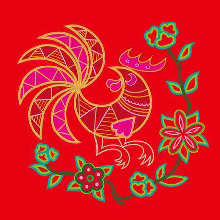 Chinese embroidery rooster pattern