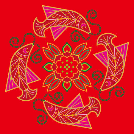 affluence: Chinese embroidery fish pattern. The symbolic meaning of fish throughout Chinese tradition is affluence. Illustration