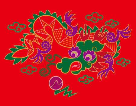 auspicious element: Chinese embroidery dragon pattern