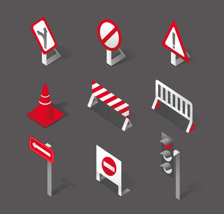 instruct: Stylish traffic signs and icons Illustration