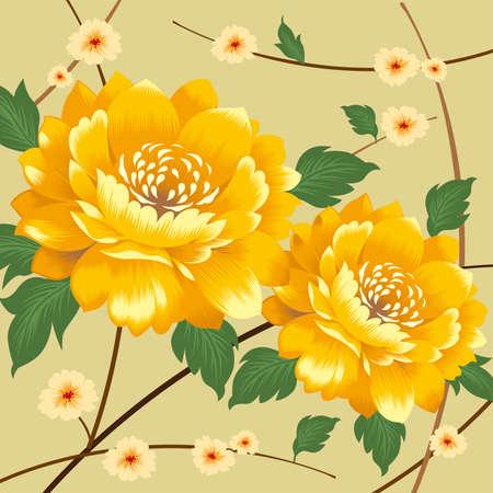 중국어 번체 국화 섬유 패턴