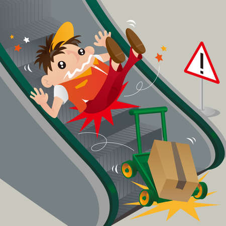 A careless delivery man slipping on escalator Illustration
