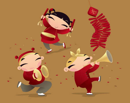 happy new year cartoon: Chinese kids celebrating new year coming Illustration