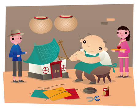 An old master making a paper house and paper servants as funeral goods of Chinese paper offerings