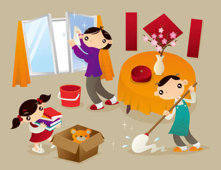 Family cleans their home thoroughly before new year. This is a tradition of Chinese people to welcome new year coming. Illustration