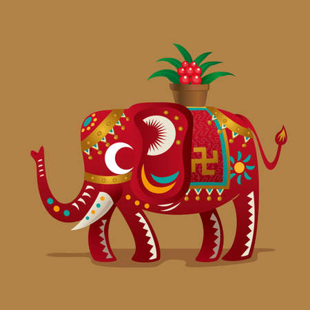 Chinese New Year Festivals Lucky Symbola Elephant With A Plant