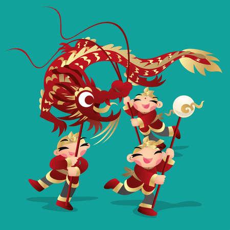 Kids playing Chinese dragon dance