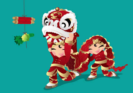 asian children: Two kids playing Chinese Lion dancing