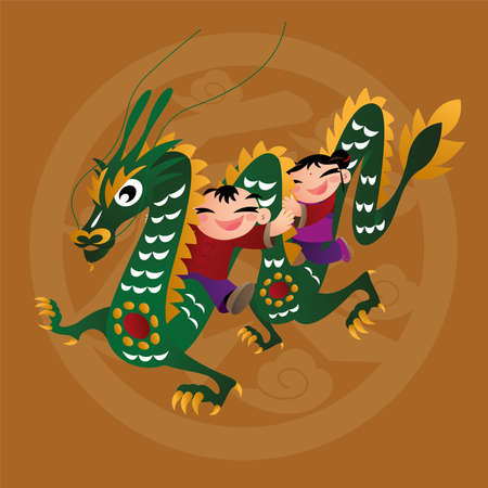 Kid loves playing with Chinese zodiac animal - Dragon Illustration