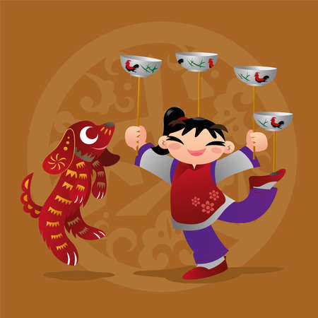 asian children: Kid loves playing with Chinese zodiac animal - Dog