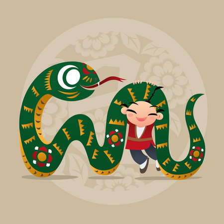 asian children: Kid loves playing with Chinese zodiac animal - Snake Illustration